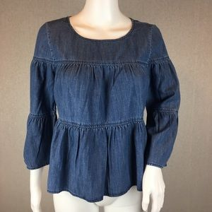 Madewell Denim Shirt Size XXSmall Tiered